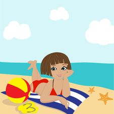 Free Cute Little Girl With Beach Ball Stock Photography - 15969882