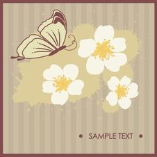 Free Floral Card With Butterfly Royalty Free Stock Photography - 15969987