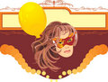 Free Woman In Masquerade Mask And Yellow Balloon. Card Royalty Free Stock Photos - 15974158
