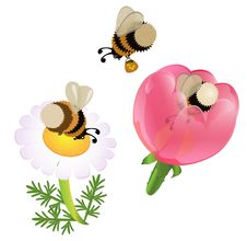 Vector Cartoon Bumblebees Royalty Free Stock Photos