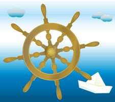 Free Captain S Steering Wheel And A Paper Boat Royalty Free Stock Images - 15970059