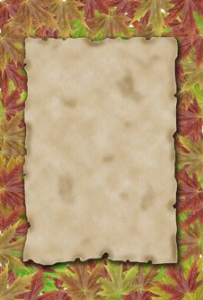 Free Autumn Background With Blank Old Paper And Leaves Royalty Free Stock Photos - 15971808