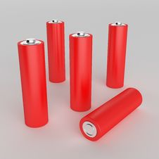 Free Red AA Batteries Royalty Free Stock Photos - 15973248