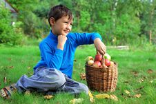 Free Little Boy With Apples Stock Images - 15973724
