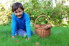 Free Little Boy With Mushrooms Royalty Free Stock Image - 15973856