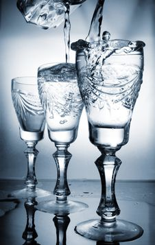 Flowing Water In A Glass Stock Photos