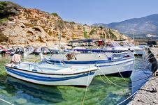 Small Boats Anchored In A Small Harbor Royalty Free Stock Images