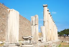 Ruins Of Columns In Asklepion Royalty Free Stock Photos