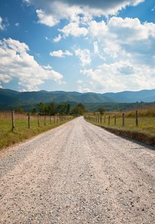 Cades Cove Rural Dirt Road Farm Landscape Stock Image