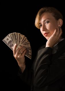 Free Business Woman With Money Stock Photo - 15977230