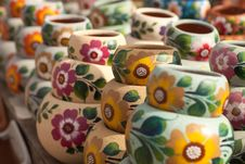 Variety Of Colorfully Painted Ceramic Pots. Stock Photography