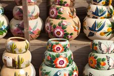 Variety Of Colorfully Painted Ceramic Pots. Stock Photos