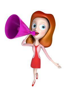 Free 3D Loudhailer Girl Royalty Free Stock Image - 15977466