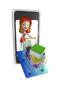 3d Girl In Phone Shopping With Trolley Credit Card Royalty Free Stock Images