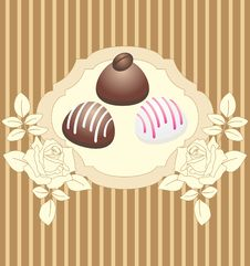 Card With Chocolate Candies Stock Image