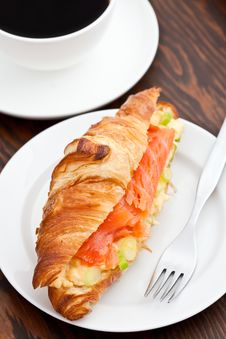 Free Croissant Filled With Smoked Salmon And Coffee Stock Image - 15980021