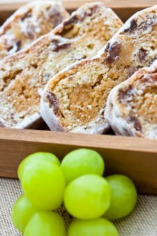 Free Slices Of Stollen Cake With Fresh Green Grapes Royalty Free Stock Photo - 15980035