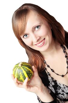 Free Woman With The Pumpkin Stock Photo - 15980210