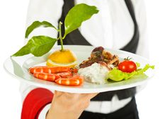 Free Waitress Seafood Salad Royalty Free Stock Images - 15980449