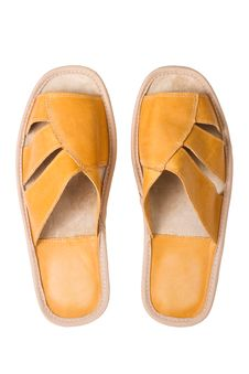 Free Isolated Yellow Leather Comfortable Slippers Royalty Free Stock Photography - 15980747