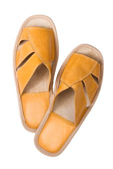 Free Isolated Yellow Leather Comfortable Slippers Royalty Free Stock Photography - 15980777