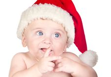 Free Beautiful Babe With Blue Eyes And Christmas Hat Stock Photography - 15980902