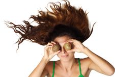 Free Beautiful Woman Lying And Hold Kiwi Near Eyes Stock Photos - 15981283