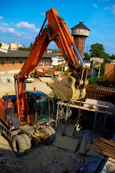 Excavator At The Construction Site Royalty Free Stock Image