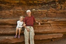 Free Father And Daughter In The Desert Stock Image - 15982111