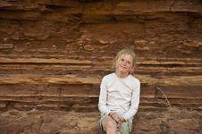 Girl In The Desert Stock Images
