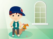 Free Boy And  Flowers-2 Royalty Free Stock Images - 15982819