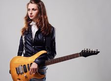 Beautiful Stylish Woman With Electric Guitar Stock Images