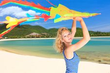 Free Woman With Kite Stock Photography - 15985202