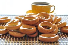 Bagels And Cup Of Coffee Stock Photo