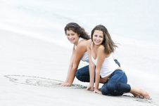 Free Two Happy Girls On Beach Royalty Free Stock Photos - 15986928