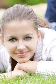Free Young Smiling Girl On Nature Royalty Free Stock Image - 15988976