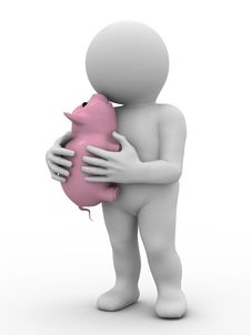 Free Character And Piggy Bank Stock Photos - 15989013