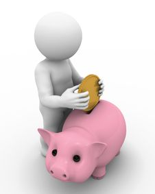 Free Character And Piggy Bank Royalty Free Stock Photo - 15989085