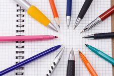 Free Pad And Pens Royalty Free Stock Photo - 15989425