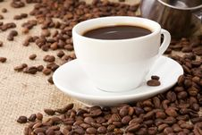 Free Beans And Cup On Sackcloth Royalty Free Stock Photography - 15989507