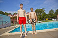 Free Brothers Having Fun At The Pool Stock Image - 15993101