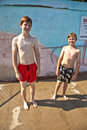 Free Brothers Having Fun At The Pool Stock Image - 15993191