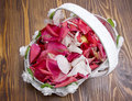 Free Basket With Red Rose Petals Royalty Free Stock Images - 15998579