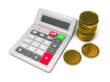 Free Calculator And Stack Of Coins Stock Photography - 15990172