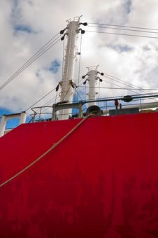 Free Hull And Masts With Pulleys Of A Red Freighter Stock Photography - 15991512