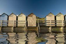 Free Beach Huts Reflected Royalty Free Stock Photo - 15992105