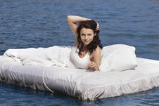 Free Woman Lying On The Bed In The Sea Royalty Free Stock Photo - 15992225