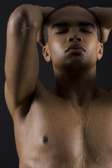 Free Men Enjoying The Shower Stock Photography - 15992322