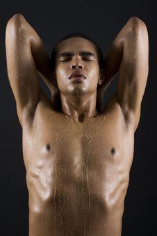 Men Enjoying The Shower Stock Photo