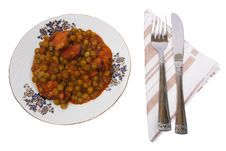 Free Cooked Peas With Bacon On Plate Stock Photos - 15992533